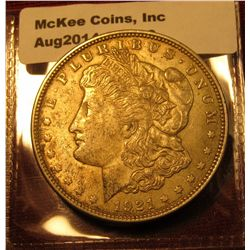 1356. 1921 P Morgan Silver Dollar AU with subdued luster