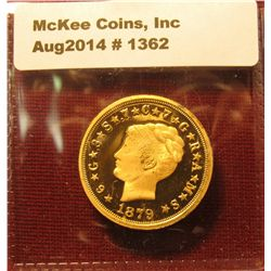 1362. Copy of an 1879 $4 gold Stella – coiled hair variety – gold plated, marked COPY, faithful repr