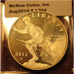 1364. 2012-W US Infantry Soldier commemorative Silver Dollar, impaired Proof