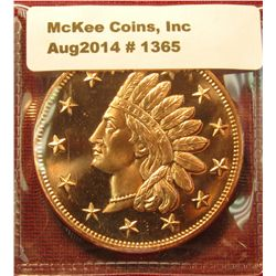 1365. 1 ounce copper round – Indian Head Penny obverse design