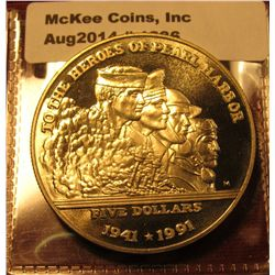 1386. 1991 Marshall Islands $5 commemorative coin – To The Heroes of Pearl Harbor