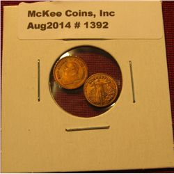 1392. Mini-money – 2 miniature versions of gold coins – St. Gaudens and Krugerrand