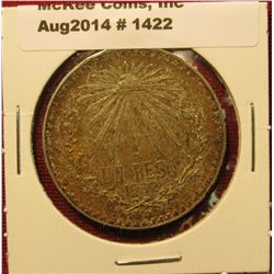 1422. 1932 Mexico Silver One Peso coin, AU with nice gold and orange toning
