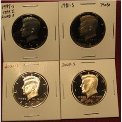 1434. 4 Proof Kennedy Halves – 1979-S type 1 filled S, 1981-S toned, 2000-S & 2007-S