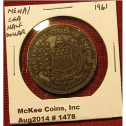 1478. New England Numismatic Association commemorative medal paired with a Confederate States of Ame