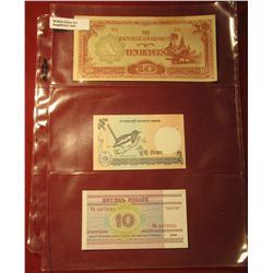 1549. 1942-44 Myanmar Japanese Occupation 10 Rupees CU;  2010 Bangladesh Banknote P6Cl 2-Taka; &  Be