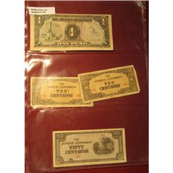 1557. (4) Japanese Occupation of World War II Philippines bank notes.