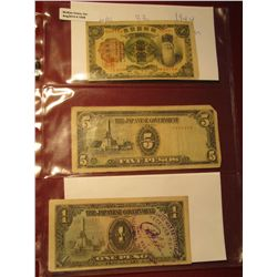 1558. Korea 1944 & (2) Japanese Occupation of World War II Philippines bank notes.