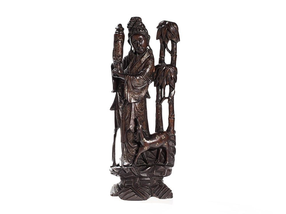 Carved Wood Sculpture with Silver Wire Inlay, China, after 1920