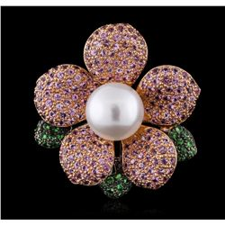 18KT Yellow Gold Pearl and Multi-Color Gemstone Brooch JS28