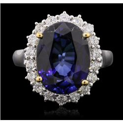 14KT Two-Tone Gold 6.57ct Tanzanite and Diamond Ring A8535