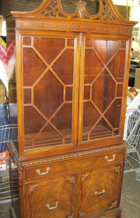 Vintage China Cabinet 1 Piece Crica 1930s Upper 2 Glass Doors