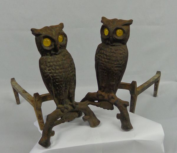 1890 Victorian Cast Iron Owl Fireplace Andirons