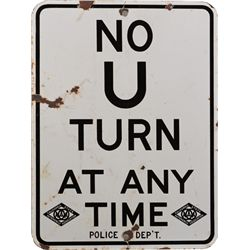 no u turn porcelain street sign w2 unusual aaa logos