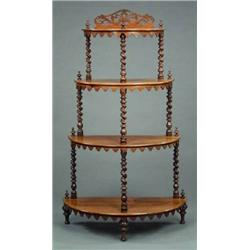 FURNITURE AND DECORATIONS   A Victorian Rosewood Whatnot, The Four  Graduated Semi Circular Shelv.