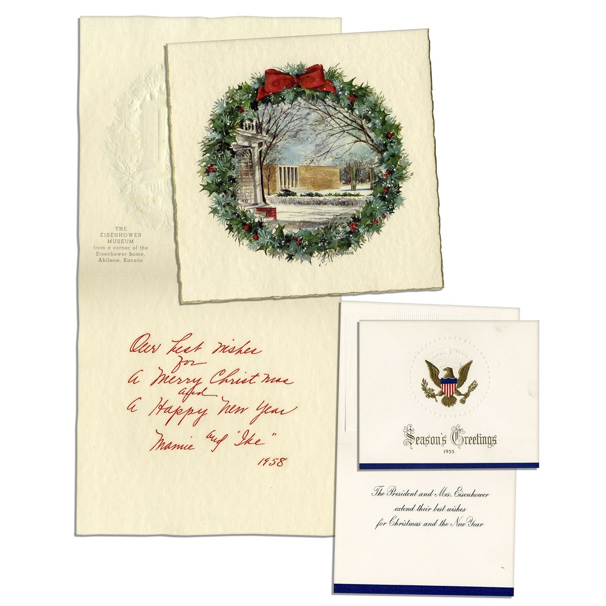 Two Christmas Cards From the Eisenhower White House -- From 1955 & 1958