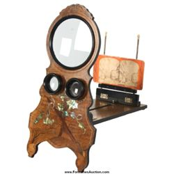 Inlaid Walnut Table Top Stereoscopic Viewer