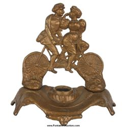 Figural Cast Iron Tandem Bicycle Inkwell