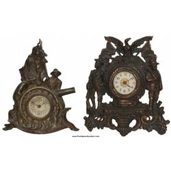 2 Spanish American War Iron Front Clocks