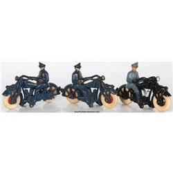3 Champion Cast Iron Police Motorcycles