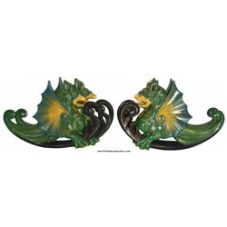 Figural Wood Carved Griffin Carousel Plaques