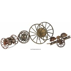 4 Cast Iron Bell Pull Toys