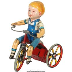 Tin Litho Wind Up Tricycle Bell Toy