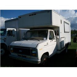 1984 Ford E350 WITH 12FT CARGO BODY - HAS BEEN USED AS AUCTION TRUCK WITH SIDE WINDOWS AND SPEAKERS