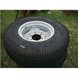(2) 355/80D 20 TURF TIRES AND WHEELS