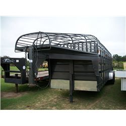 2012 TRIPLE B & J 6FT 8 X 24FT GRAY OPEN TOP GOOSENECK LIVESTOCK TRAILER, 14,000 GVW, (2) BRAKE AXLE
