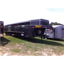 2014 CIRCLE W 7'6''X6'6''X40FT GRAY METAL TOP GOOSENECK LIVESTOCK TRAILER, BUYER PAYS 12% FET TAXES,