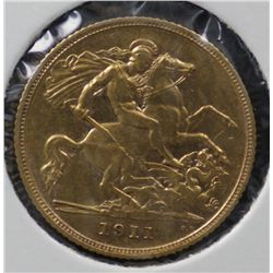 1911 Sydney Half Sovereign, Extremely Fine