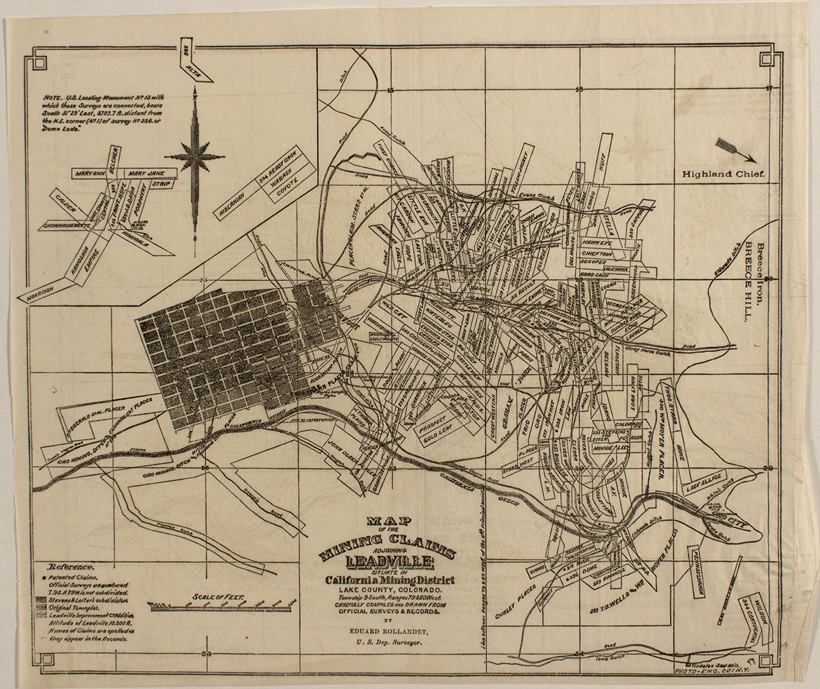 Lake County Colorado Map.Pocket Map Of Leadville Co Mining Claims