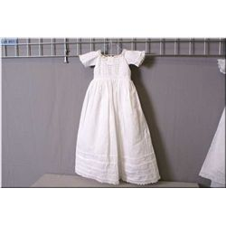 Beautiful vintage cotton Christening gown with cut work lace bodice, cotton and lace underskirt with