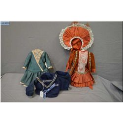 Selection of vintage doll clothes including French style rust coloured silk taffeta and velvet dress