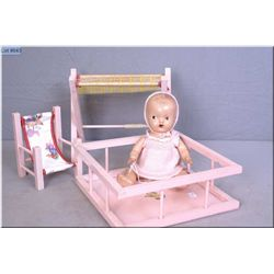 "11"" baby Wettums painted eye composition doll, with playpen, change table and high chair. Auction es"