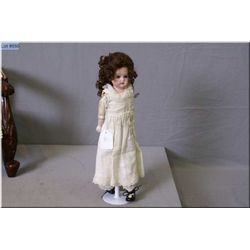 "15"" Cuno & Otto DEP 1896 bisque head doll, no cracks or hairlines, glass eyes, mohair wig on a kid l"