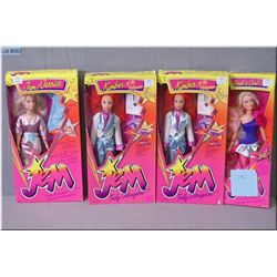 Four vintage Hasbro Jem and the Hologram dolls, all new in package including Rock & Curl Jem doll, t