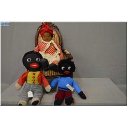 Vintage Chad Valley golliwog, knitted golliwog and vintage cloth doll with hand scarf, removable ski