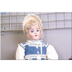 "33"" Heinrich Handwerck/Simon Halbig bisque head doll marked -7- with blue sleep eyes, mohair wig on"