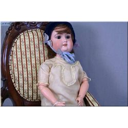 "21"" Majestic German bisque head doll with sleep eyes, open mouth on composition body, note some repa"