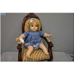 "19"" Reliable composition baby doll in excellent condition, sleep eyes and mohair wig on stuffed body"