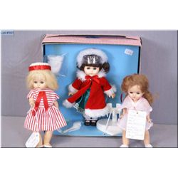 "Vintage boxed 8"" Ginny by vogue doll in original Christmas outfit with stand, muff, hairbrush and co"