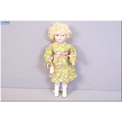 "Vintage 17"" wooden fully articulated Schoenhut girl with mohair wig. Note replacement of both hands"