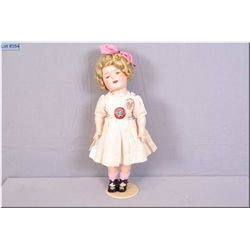 "18"" Ideal composition Shirley Temple doll, no cracking, no crazing, beautifully coloured with vintag"