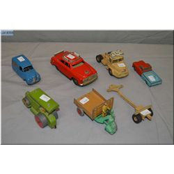 Selection of vintage die cast toys including Hubley, Tri-ang, and Dinky