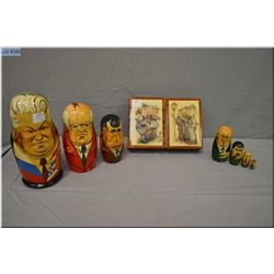 Set of Russian Matryoshka dolls featuring Russian leaders Yeltsin, Gorbachev, Brezhnev, Stalin, Leni