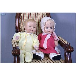 "Two vintage composition dolls including 14"" Ideal ""Tickletoes""(?) on stuffed body with green flirty"