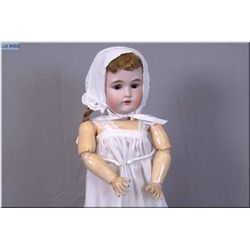 "21"" Kestner 171 bisque head doll with sleep eyes, open mouth on composition body, no cracks, no hair"