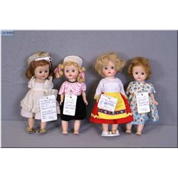 "Four vintage 8"" hard plastic Ginger Cosmopolitan dolls including one with mohair wig and three with"